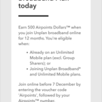 Get 500 Airpoints Dollar When Signing up to a 12 Month Broadband Unplan @ Spark.co.nz