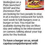 Win a Burger Meal from The Dominion Post (Wellington)