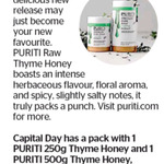 Win a Pack of 1 PURITI 250g Thyme Honey and 1 PURITI 500g Thyme Honey (Valued at $49.50) from The Dominion Post