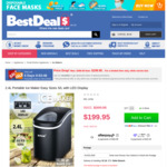 2.4l Portable Ice Maker with LED Display, $199.95 (Was $399.95) + Delivery @ Best Deals