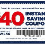 $40 off $100 Minimum Spend (VIP Membership Required) @ Spotlight