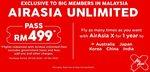 AirAsia Unlimited Pass - Flights from Kuala Lumpur to Australia/Asia RM499 (~$189 NZD) + Airport Tax (Malaysia Address/VPN Req.)