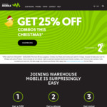Warehouse Mobile | 25% off Combos w/90 Day Rollover | Valid till 10th January 2020