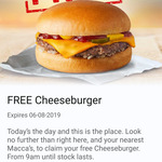 50,000 Free Cheeseburgers from 9am Tuesday 6 Aug via App at McDonald's