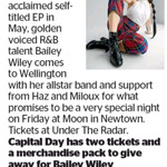 Win 2 Tickets to See Bailey Wiley + Merchandise from The Dominion Post (Wellington)