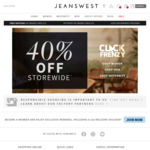 Jeanswest 40% off Site Wide Click Frenzy Sale, Including Sale Items. $10 Postage, or Free w/ $75 Spend