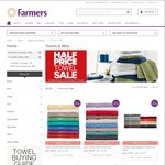 Farmers - Half Price Towel Sale Face Cloths From $1.50 Hand Towels From $3 Bath Towels From $8
