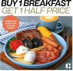 Buy 1 Breakfast, Get 1 Half Price (on All-day Breakfast items) at Coffee Club