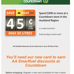 45c / Litre off with AA Smartfuel When You Spend $200 @ Countdown [Auckland Only]