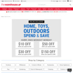 Spend & Save with The Warehouse ($100 save $10, $200 save $30, $300 save $50, $1000 save $150)