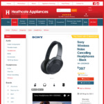 Sony Wireless Noise Cancelling Headphones - Black WH-1000XM2B $387.00 @ Heathcotes