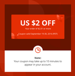 US $2 off US $2.01+ Spend (~NZ $2.60 off ~NZ $2.62+ Spend) @ AliExpress (New Accounts)