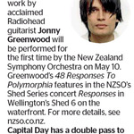 Win a Double Pass to see Jonny Greenwood from The Dominion Post (Wellington)