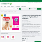 Huggies Ultra Dry Crawler Girl Nappies 6-11kg Size 3 Bulk Pack 44pk / 2 Packs for $28 (Normal Price $40) @ Countdown