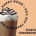 50% off Frappuccinos from 3pm to 5pm 3-7 May @ Starbucks