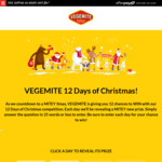 Win 1 of 12 Vegemite Prizes (Including a Year's Worth of Vegemite or Merchandise Packs) in Vegemite's 12 Days of Christmas
