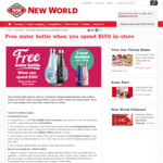 Free Water Bottle When You Spend $150 in-Store @ New World