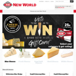 Win One of 25 x $100 New World Gift Card with Cheese Awards 2019