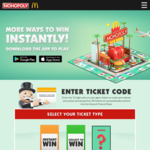 Win a Share of Over $82,861,587 Worth of Prizes from McDonald's [With Purchase] McDonald's Monopoly - 1 in 5 Instant Win