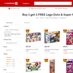 LEGO Mario and LEGO Dots Buy One Get One Free + Extra 10% off @ The Warehouse