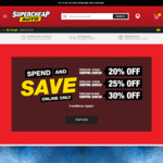 20% off Purchases $100-$149.99, 25% off $150-$199.99, 30% off $200+ @ Supercheap Auto (Online Only)