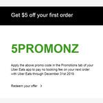 $5 off Order @ Uber Eats