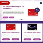 WarehouseMoney Credit Cards - Get 5% off at The Warehouse (No Annual Fee)