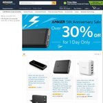 Amazon - Anker 5yr Anniversary Sale 30% off Today only