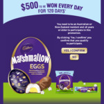 Win 1 of 120 Daily Prizes of $500 Cash from Mondelez [Buy a Specially Marked Pack of Cadbury Marshmallow Eggs + Enter Online]