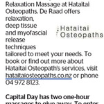 Win 1 of 2 One Hour Massages from The Dominion Post