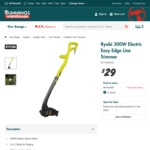 Ryobi 300W Electric Easy Edge Line Trimmer $29 at Bunnings Warehouse