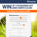 Win 1 of 3 $3,500 Husqvarna Gift Cards from Husqvarna