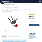 Asus PCE-AC88 AC3100, Wireless AC Card $49.94 @ Ascent