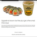 Upgrade to Brown Rice Free + Get a Free Small Miso Soup @ St Pierres Sushi via Vodafone Rewards