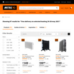 Free Delivery on Selected Heating 24-26 May 2021 @ Mitre10