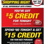 $5 Credit for Club Members to Spend Tonight at Supercheap Auto-Online & Instore