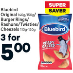 3 x Bluebird 140g-150g Chippies for $5, Mi Goreng 4 cups for $5 Watties Baked Beans 3 tins for $4, Voda Mobiwire $15 @ New World