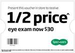 Specsavers Half Price Eye Exam $30 (Usually $60)