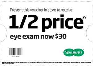 7a4b22c3c4ed Specsavers Half Price Eye Exam $30 (Usually $60) - ChoiceCheapies