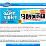 FREE McDonald's $30 Voucher When You Spend $30 or More on HASBRO GAMES @ The Warehouse