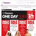 50% off Women's Sleepwear and Thermals, Men's and Kids Underwear, Kitchenware and Tableware + More @ Farmers [Today Only]