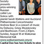 Win 2 tickets to hear Lev Sivkov, Sarah Watkins, + Auckland Philharmonic from The Dominion Post (Wellington)