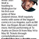 Win a Double Pass to see Josh Wolf from The Dominion Post (Wellington)