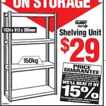 Handy Storage 1524x 813x 305mm Grey Boltless 4 Shelf $29 (Was $78) @ Bunnings