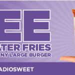 Free Sweet As Tater Fries with Any Large Burger Purchased at BurgerFuel