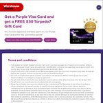 FREE $50 Torpedo 7 Voucher with Warehouse Purple Credit Card (Purchase Required)