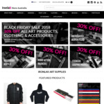 Black Friday / Cyber Monday 30% off All Art Supplies, Clothing & Accessories $22 Shipping @ Ironlak