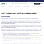 $20 1-Day.co.nz eGift Card with Spend of Min $50 Including Shipping Promotion with ZIP