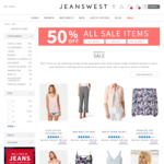 50% off Sale Items - Jeans $30 (Was $89) / Shorts $15 (Was $70), T-Shirts & Tops from $5 @ Jeanswest