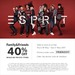 40% off ESPRIT Regular Priced Items (Family & Friends) Thu 18 May to Sun 21 May 2017
